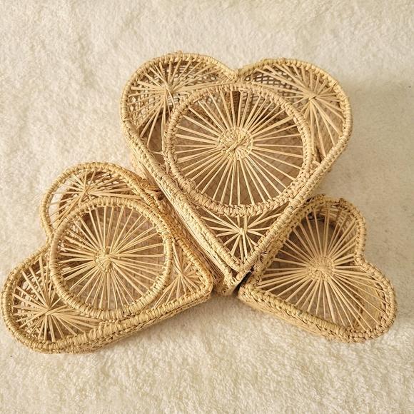 3 Vintage Wicker Nesting Heart Boxes | Boho